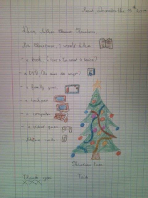 Comment Ecrire La Lettre Au Pere Noel.Ce2 Lettre Au Pere Noel En Anglais Le Blog Des Parents