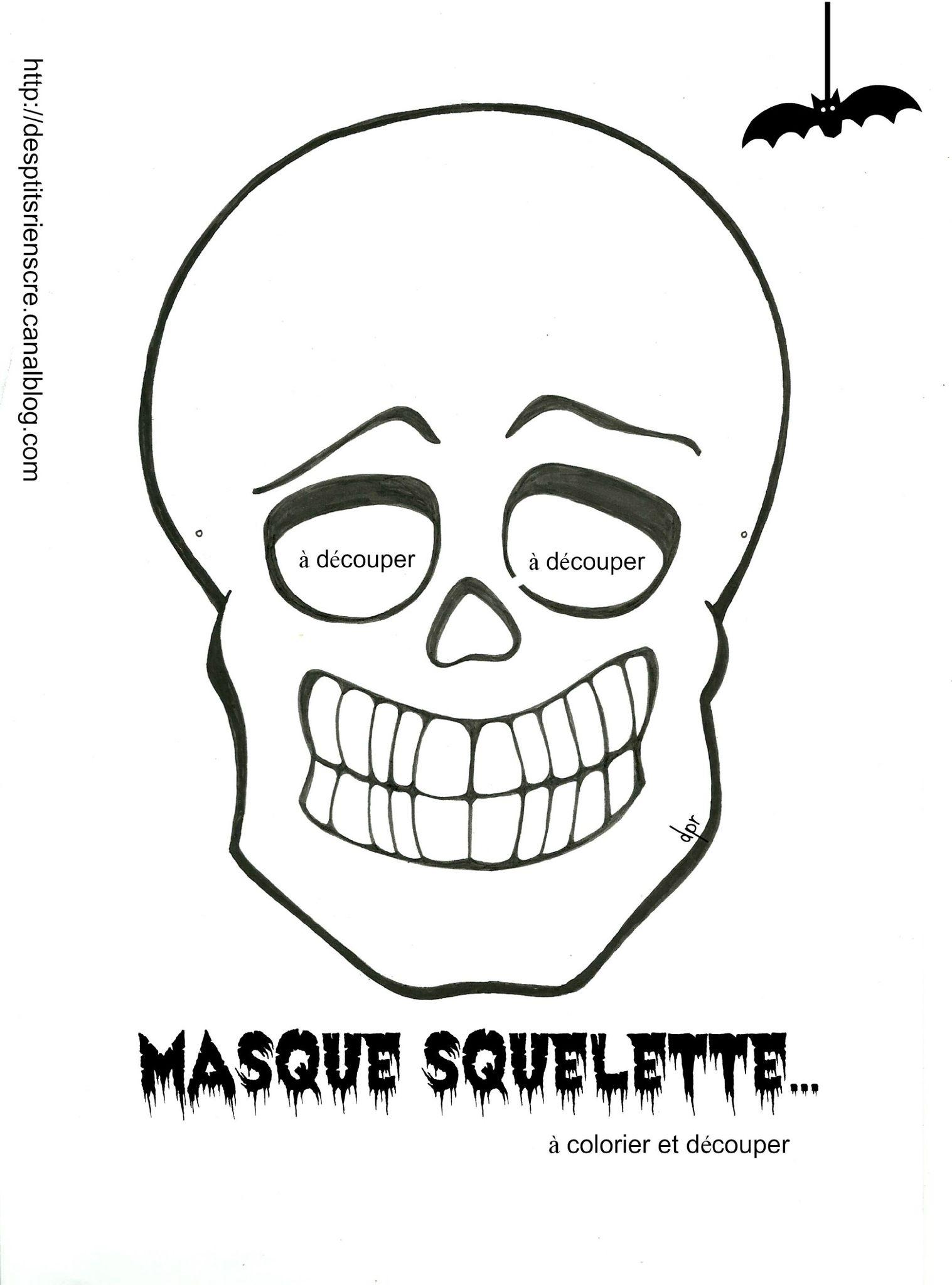 Pour vos p 39 tites crapules coloriage imprimer des p 39 tits riens - Coloriage squelette halloween ...