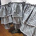 Robe champètre en lin blanc et popeline de coton gris et blanc à pois ou rayures - Veste BLANCHE en lin gris à pois blancs (3)