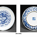 A blue and white 'dragon' dish, qianlong six-character seal mark in underglaze blue and of the period (1736-1795)