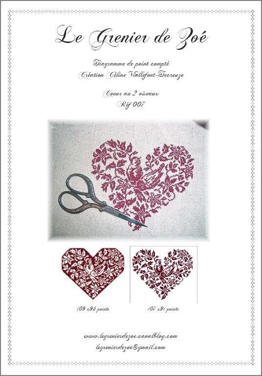 007-Coeur aux 2 oiseaux- 6 €
