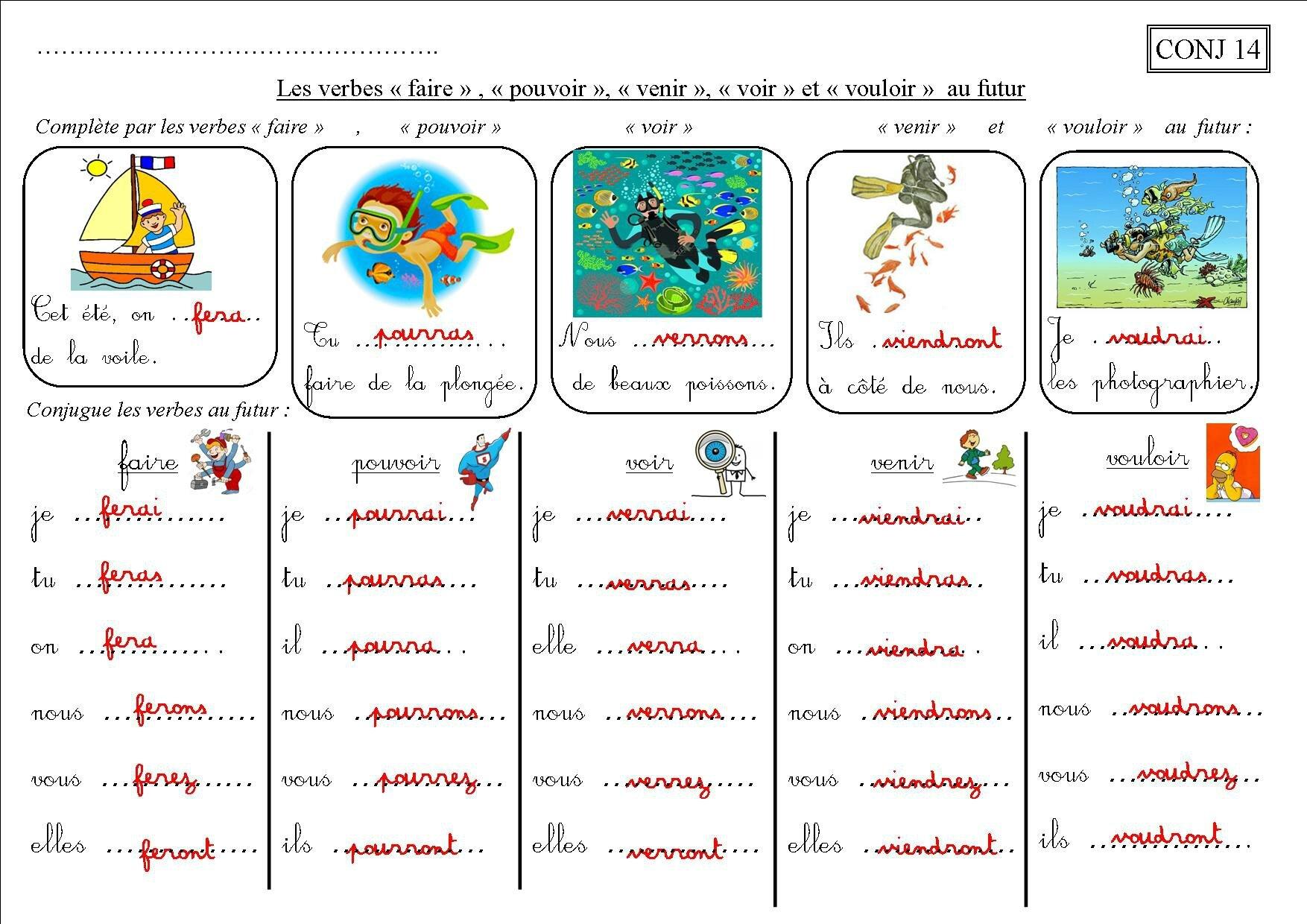Conj 14 Ce2 Les Verbes Faire Pouvoir Venir Voir Vouloir Au Futur La Classe Des Ce De Villebois
