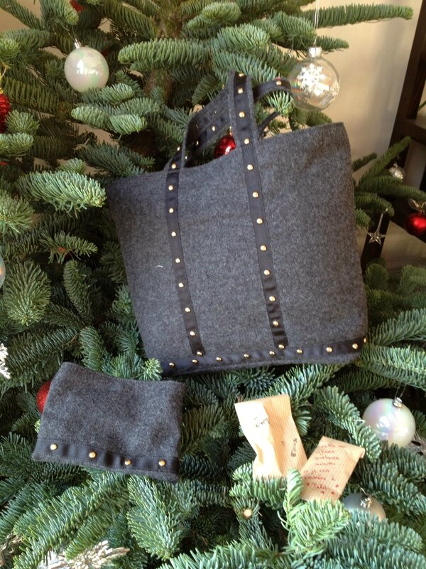 Sac cabas lainage gris anthracite. Taille S