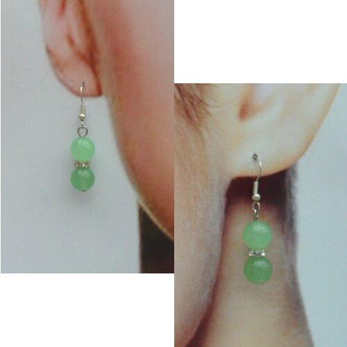Boucles d'Oreilles Crina Perles Jade Vert Clair 10 mm Rondelle Strass Crystal Argent Du Tibet