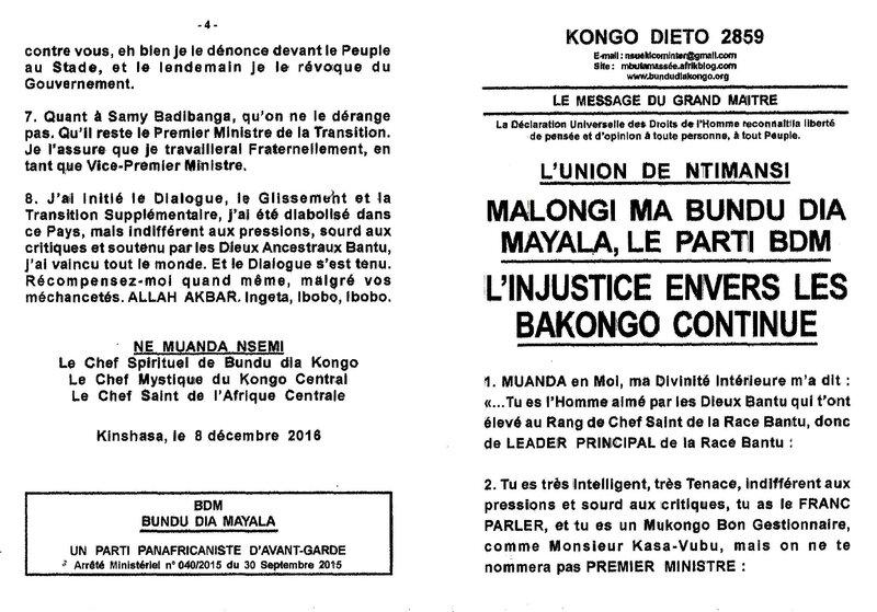 L'INJUSTICE ENVERS LES BAKONGO CONTINUE a