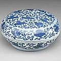 An unusual blue and white 'precious objects' box and cover, Wanli mark and period