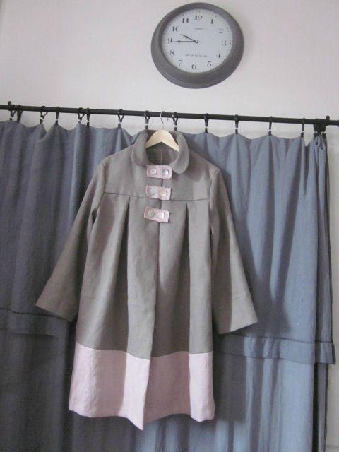 manteau d'été bicolore en lin gris et rose (1)