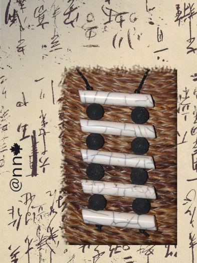 Collier Fimo chinois noir et blanc (N)