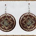Boucles d'Oreilles Nacre Marron Rondes Leila Style Oriental Motifs Doré