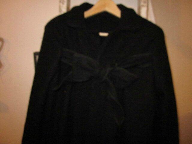 Manteau AGLAE en laine bouillie noire allongé de 15 cm - taille 50 (11)