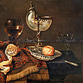 willem claesz. heda, a clementine in a porcelain bowl, a nautilus cup, a roemer, two glasses, a knife, a peeled lemon on an orn