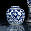 A blue and white melon decorated jar, wanli period (1573-1620)