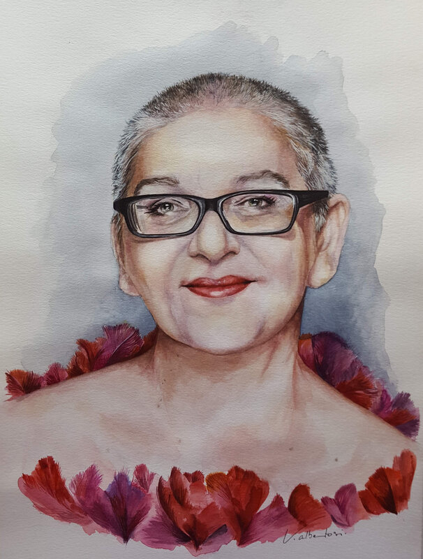 Portrait aquarelle Desireless chanteuse par Valerie Albertosi