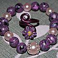 parure (35) perles violettes nacre