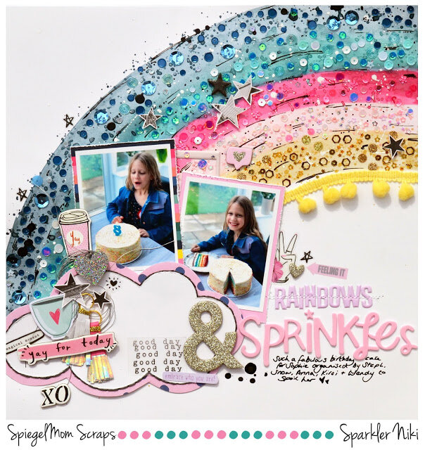 Rainbows and Sprinkles Niki Rowland Spiegel Mom Scraps Crate Paper All Heart Scrapbooking Shimmerz