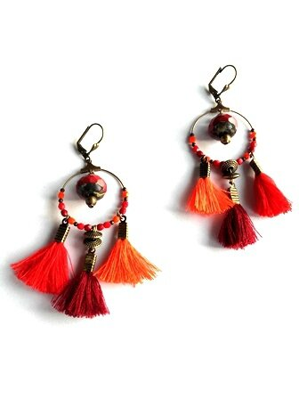 Boucles pompons rouge bordeaux orange PW