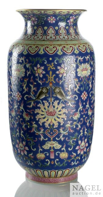 A fine and rare Imperial famille rose lantern-shaped vase, Jiaqing iron-red six-character mark and period
