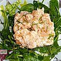 Salade de mon jardin dégustée avec un tartare de saumon.