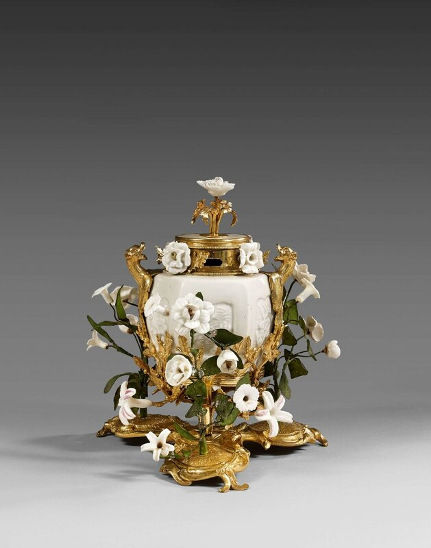 A Louis XV ormolu-mounted chinese celadon porcelain pot-pourri vase and cover, Paris, 17501