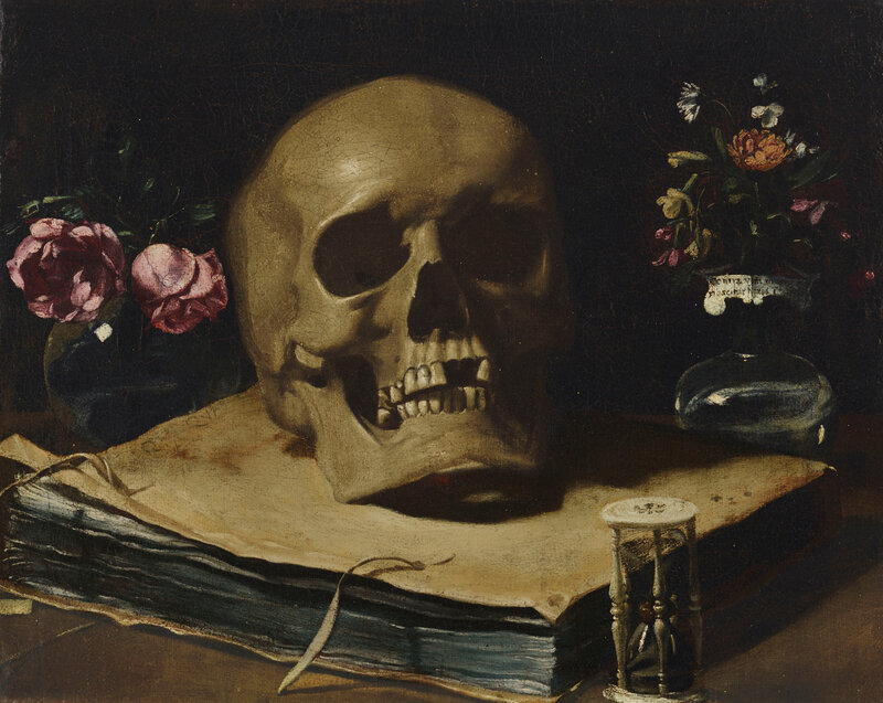 Giovanni Francesco Barbieri, called Guercino (Cento 1591-1666 Bologna), A vanitas still life with a skull atop a book, an hourglass and two glass vases of flowers