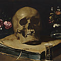 Guercino, a vanitas still life with a skull atop a book, an hourglass and two glass vases of flowers