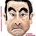Robert chausse,un gone de lyon vous souhaite une bonne année 2020 : caricature en couleurs d'un ghosn de beyrouth