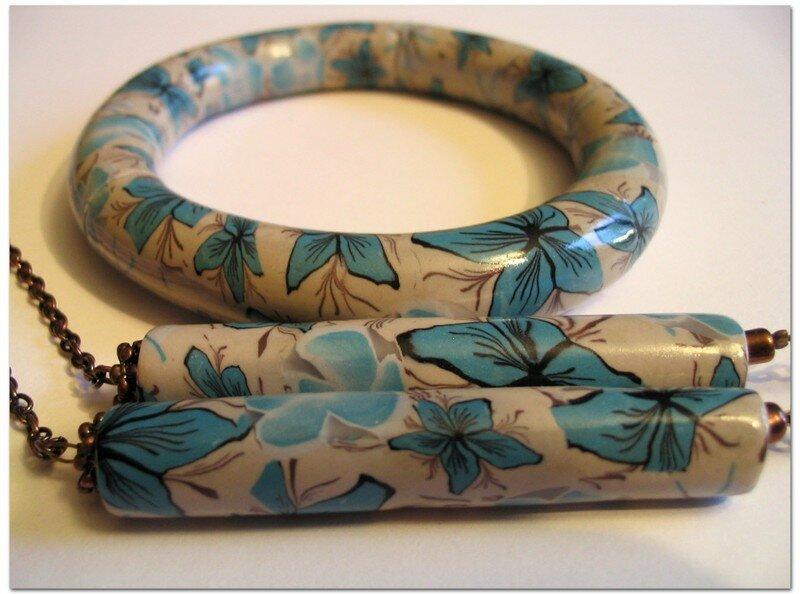 ahh Fleur bleue - bracelet et détail du collier