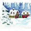 carte n°13 - village dans la neige