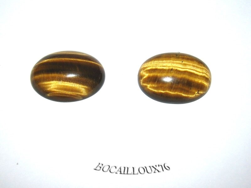 CABOCHON 15x20 OEIL de Tigre 4 - Lot de 2 - Pour CREATION
