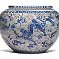 A rare underglaze blue and copper red 'Dragon' basin, Qing dynasty, 18th-19th centur