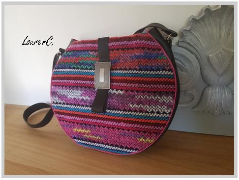 SAC ROND TRICOT PATTE CUIR