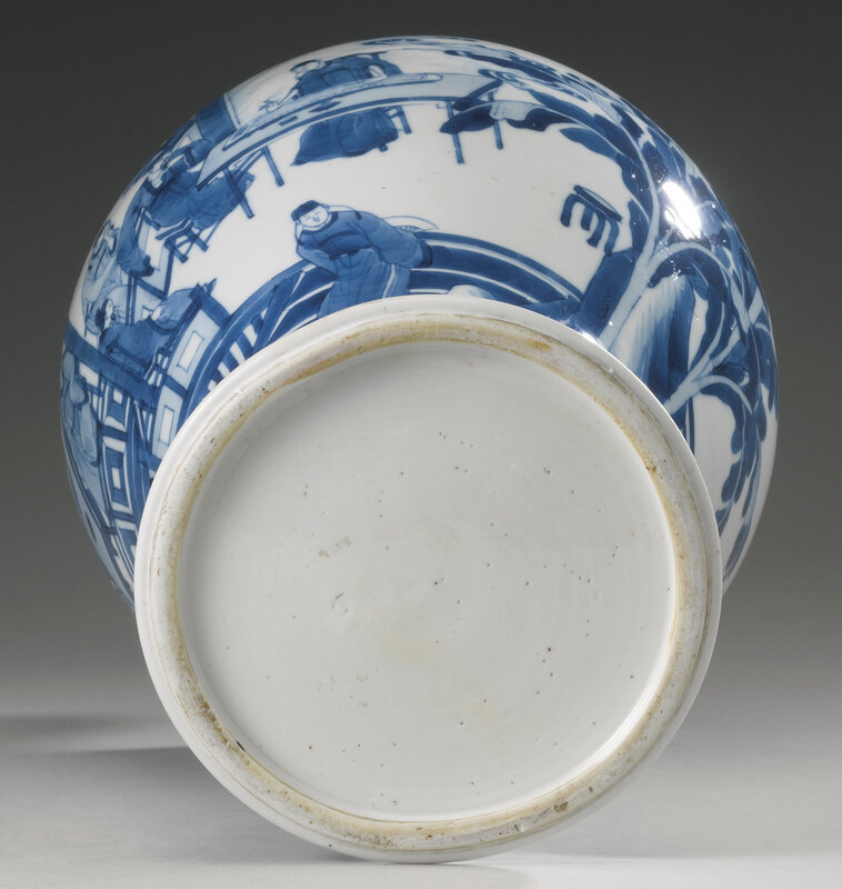A blue and white 'Four accomplishments' baluster vase, Qing dynasty, Kangxi period (1662-1722)5