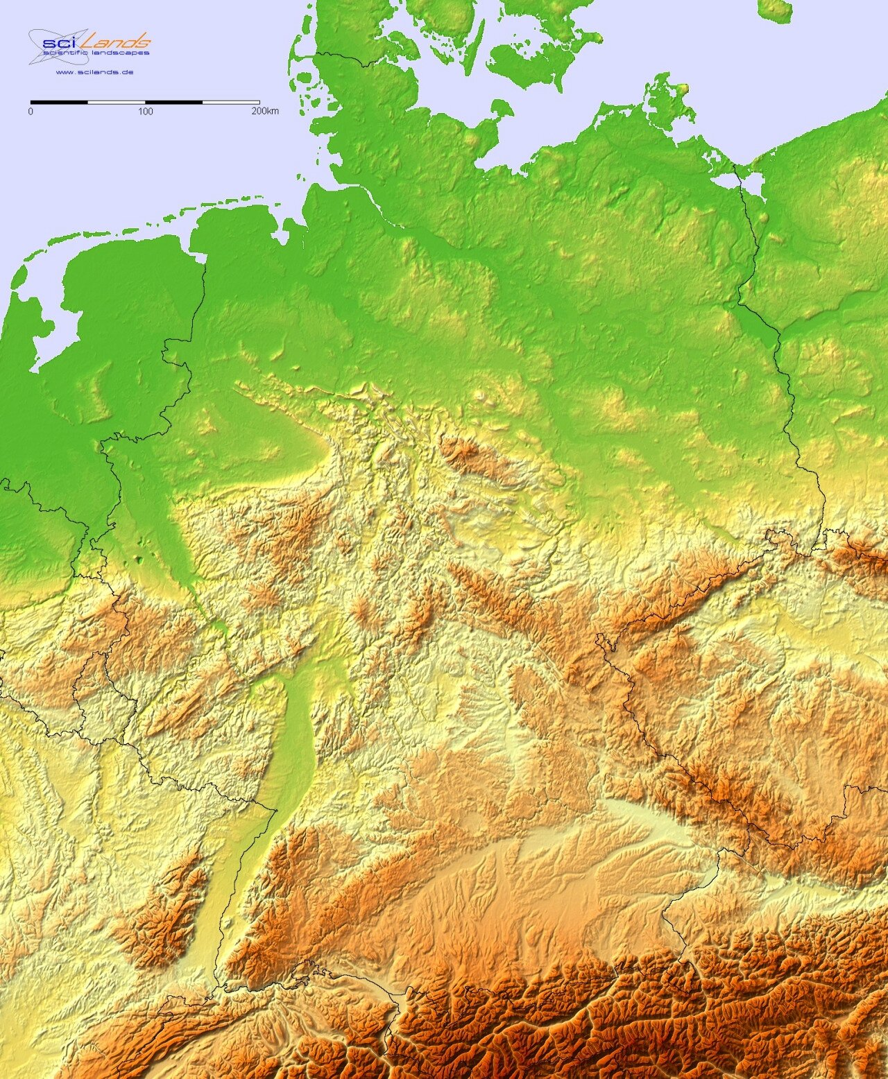 allemagne-Topographic hillshade map of Germany