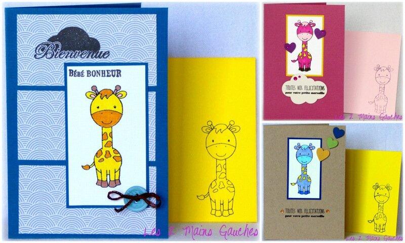 cartes de naissance avec girafe colorisée