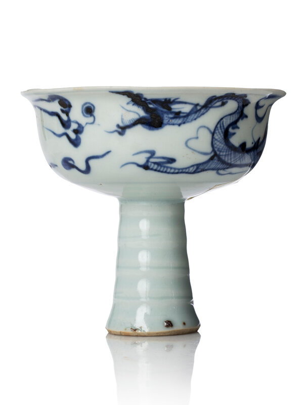 A blue and white 'Dragon' porcelain stem cup, Yuan dynasty, 14th century