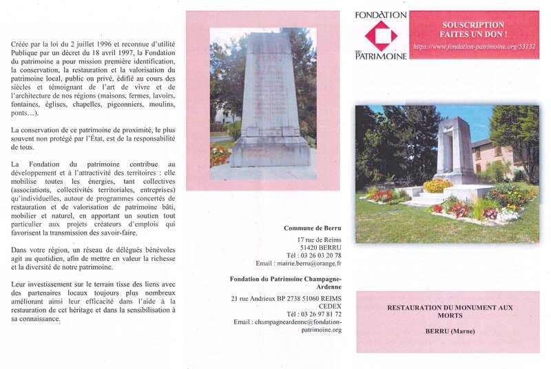 souscription monument aux morts recto