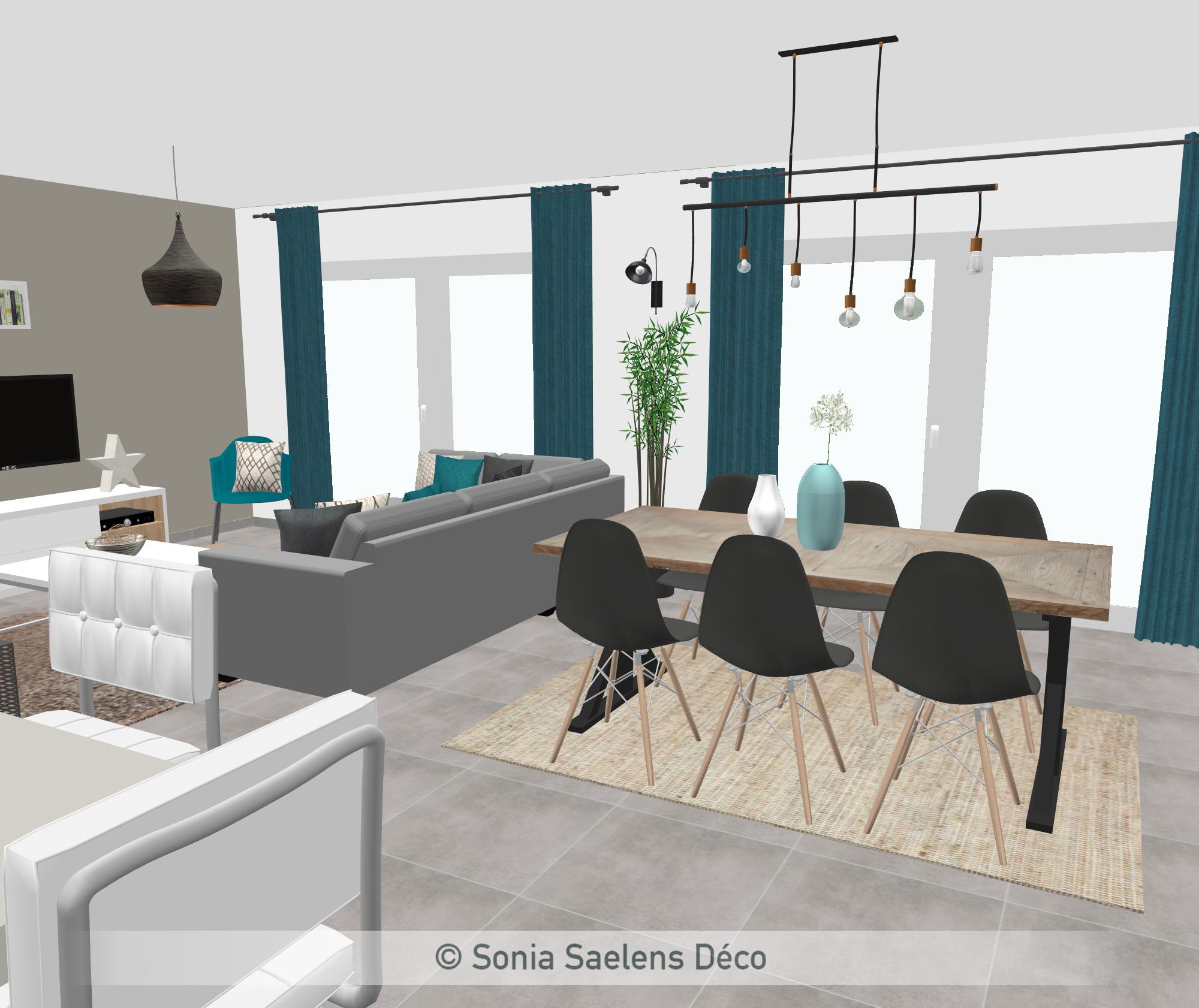 Salon Gris Et Bleu Canard projet client: une pièce de vie en gris, bois et bleu