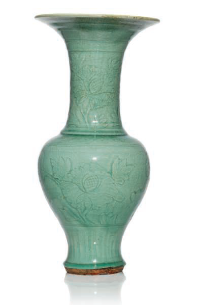 A Longquan celadon-glazed 'Phoenix tail' vase, Ming dynasty, 15th century