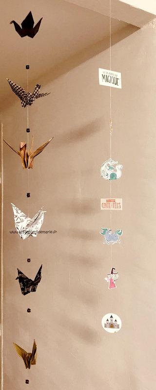 grues origami en suspension