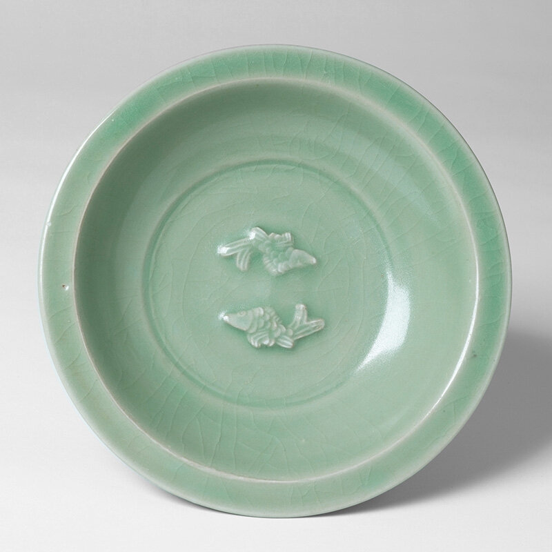 Large Longquan Celadon Bowl with Twin Fish Appliques, B 1211, Southern Song - Yuan Dynasty, 13th - 14th century A