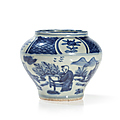 'kraak porcelain' jar in blue and white, china, wanli six-character mark in a double-circle on the underside and period (1573-1