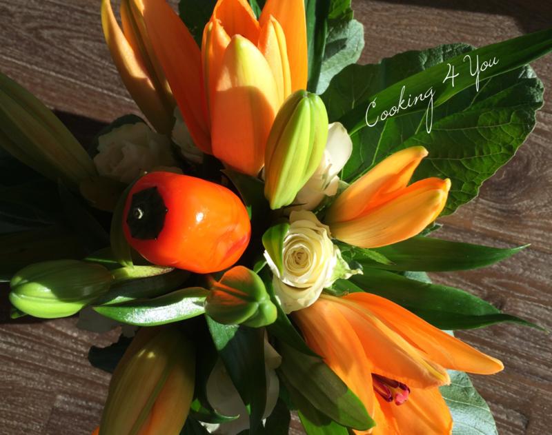 bouquet fleurs et légumes, jaunes 055