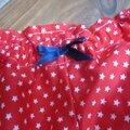 Culotte BIANCA en coton rouge étoilé de blanc - noeud gros-grain marine (1)