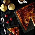 Gâteau de semoule a la poire & aux framboises