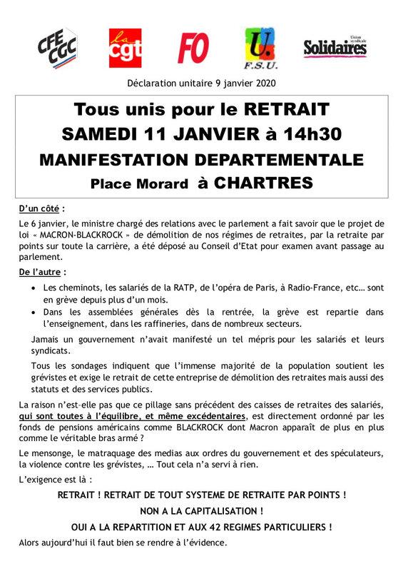 Déclaration unitaire 9 janvier 2020