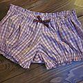 Culotte en coton et lycra à carreaux rose et parme et noeud assorti - taille S