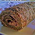 Gâteau roulé courgette & emmental, fourré fromage frais à la tomate/poivron & jambon blanc