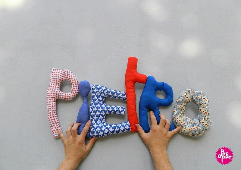 pietro,mot en tissu,mot decoratif,cadeau de naissance,decoration chambre d'enfant,cadeau personnalise,cadeau original,poc a poc blog
