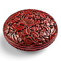 A rare cinnabar lacquer 'floral' box and cover, incised mark and of yongle (1403-1424)