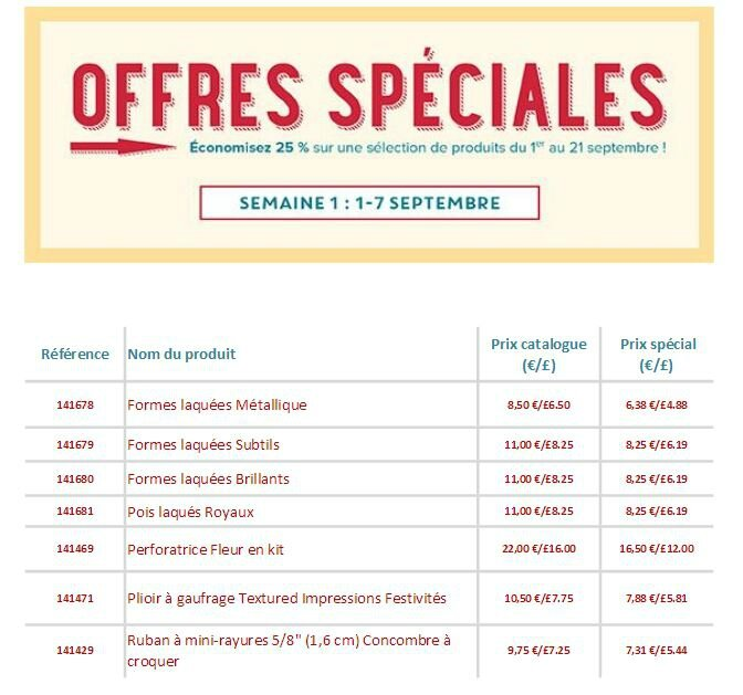 Offres spéciales 1 au 7 septembre 2016